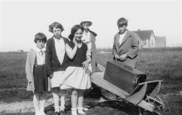 Helen Creighton with children on Devil's Island, c. 1929